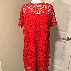 Red Flower Crochet Dress